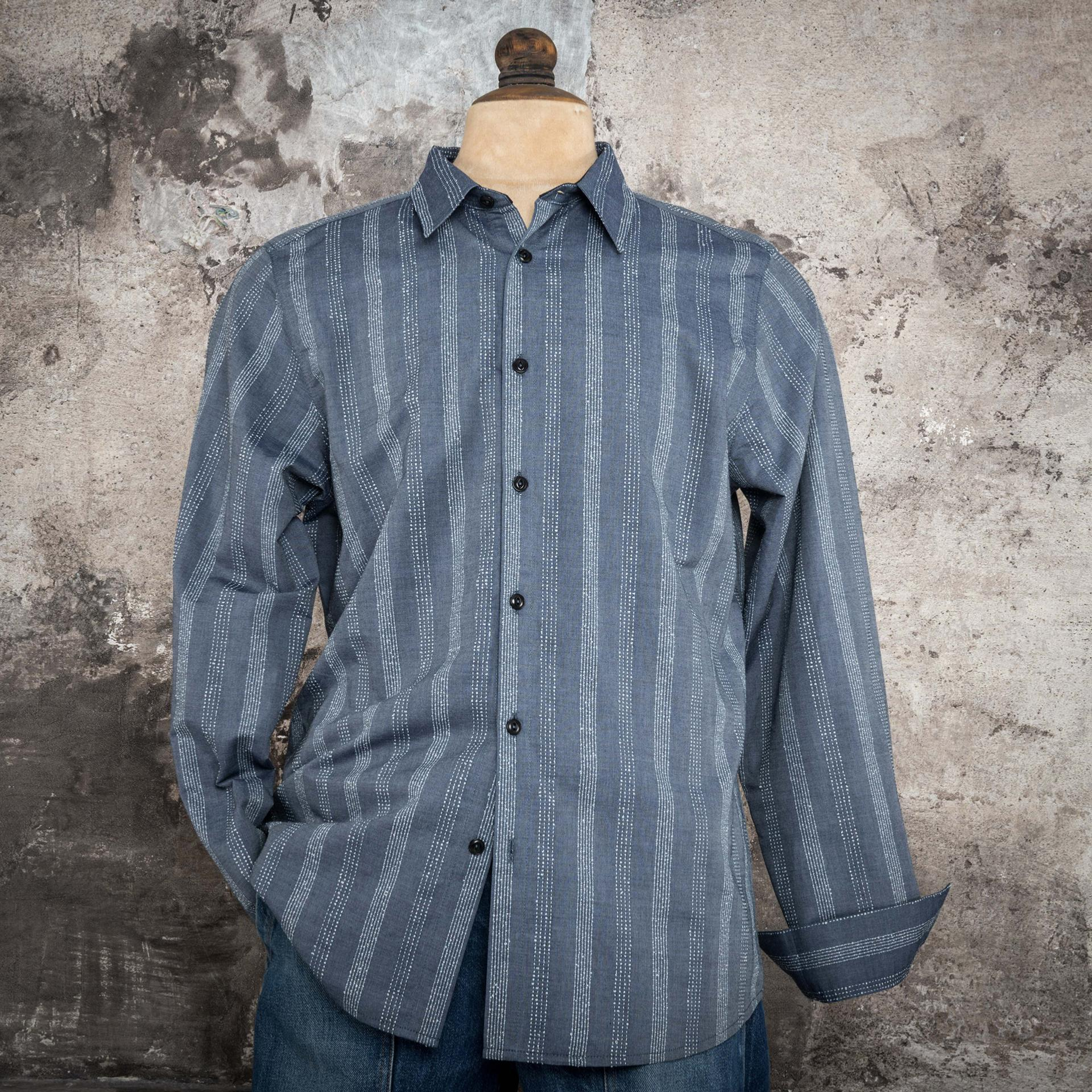 "THE ""CLASSIC"" SHIRT INDIGO STICHED"